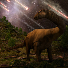 Extinction Of The Dinosaurs - An apatosaurus looks upon meteors raining down that would precede the larger asteroid strike that would lead to the extinction of the dinosaurs 65 million years ago.