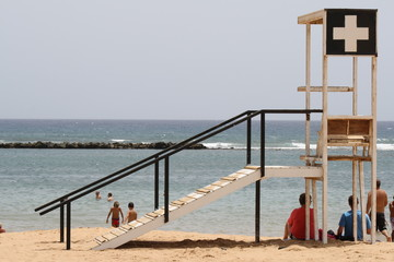 spain, fuerteventura. guard tower on the sand