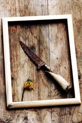 Das alte rostige Messer und die vertrocknete Blume