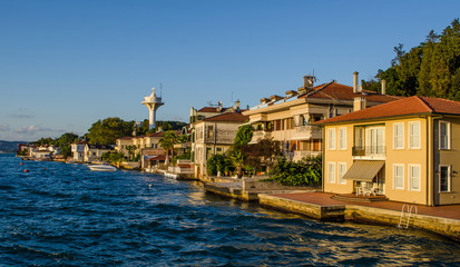 view of luxurious vilas situated on shore of bosphorus strait in istanbul.
