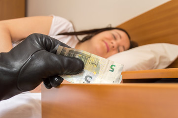 theft of money while sleeping