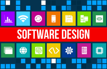 Software design concept image with business icons and