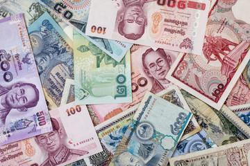 Wall Murals Chicken Thailand money and Laos money
