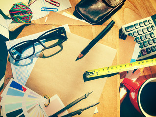 Messy Table Workplace Stationery Concept