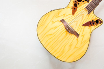 classical acoustic guitar on white background