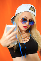 sexy hip hop girl photographed themselves on the phone