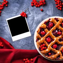Cherry pie and blank photo
