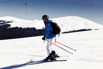 Woman learning how to ski