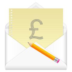 envelope with drawing british pound symbol
