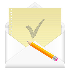 envelope with drawing check symbol