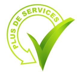 plus de services  sur symbole validé vert