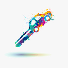 Car key rainbow splash icon