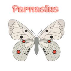 Butterfly parnasius vector illustration