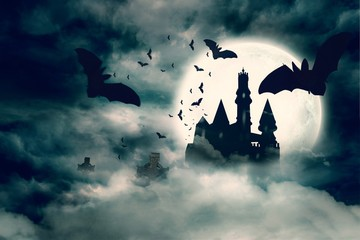 Canvas Prints Castle Bats flying to draculas castle