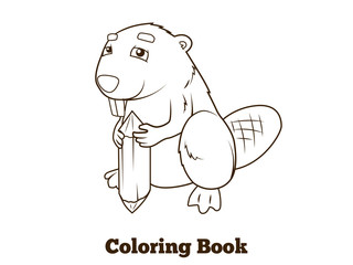 Forest animal beaver cartoon coloring book vector
