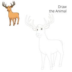Draw forest animal deer cartoon vector