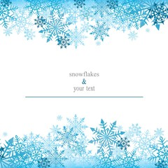 greeting card with blue snowflakes