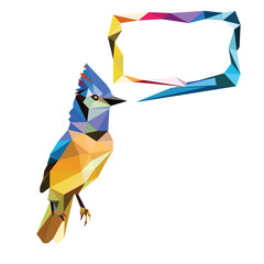 low poly bird frame vector
