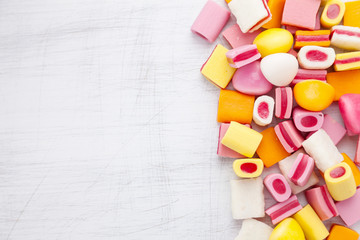 Delicious sweet candy with copy space