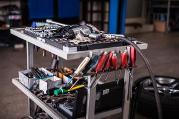 tools in mechanic garage