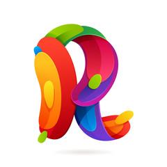 R letter volume colorful logo with splash.