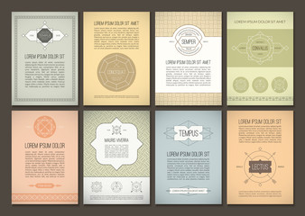 Set of vector brochures in vintage style
