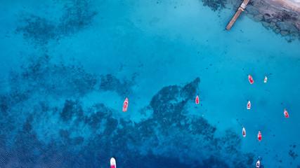 blaues Wasser - Boote - Karibik - Luftbild - Curacao Wall mural