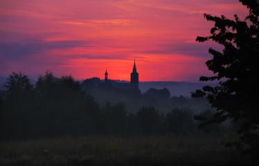 Autocollant pour porte Cracovie Church in sunset