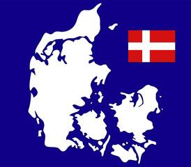 mappa danimarca con bandiera su sfondo blu