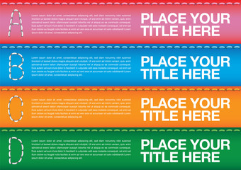 Colorful Horizontal Strips with Copy Space and Running Stitches Vector Layout Design