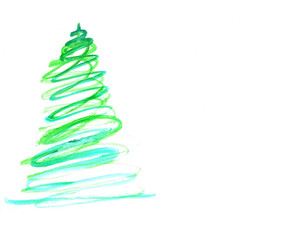 Stylized Christmas tree with colorful ornaments