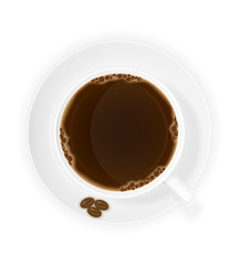 cup of coffee and grains top view vector illustration