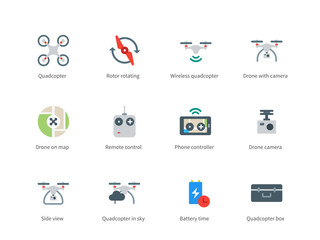 Drone with Camera color icons on white background.
