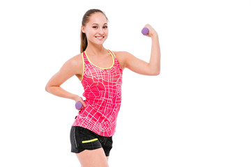 Young sportswoman showing biceps with weights