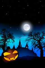 Wall Mural - Halloween Spukschloß mit Kürbis