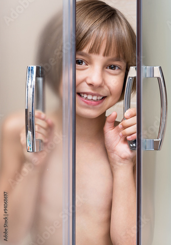 girl takeing a shower