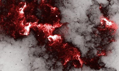 Red Nebula - Digital abstract painting of a galaxy with stars in space