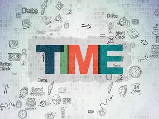 Timeline concept: Time on Digital Paper background