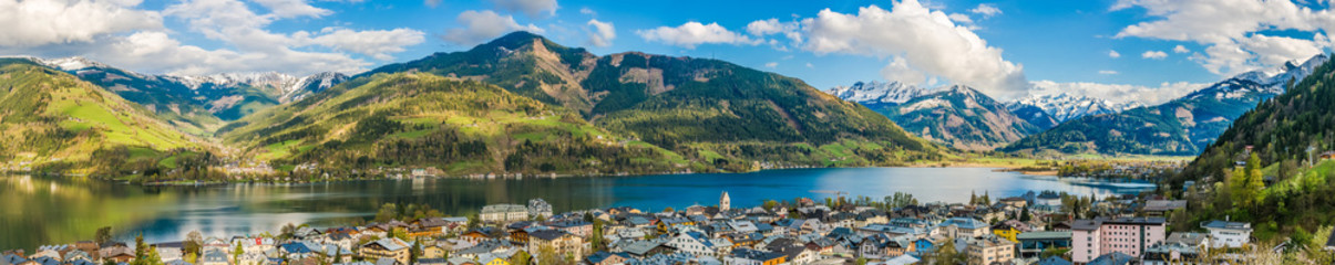 Mountain landscape with Zeller Lake in Zell am See, Austria Wall mural