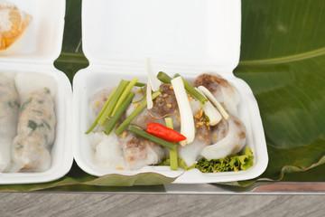 Steamed rice skin dumplings, Thai style dessert.