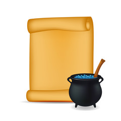 Halloween banner, card with empty paper scroll and witches cauldron, blue potion. Blank ancient scroll of parchment wallpaper, background. Poster or brochure for Halloween party. Vector illustration.