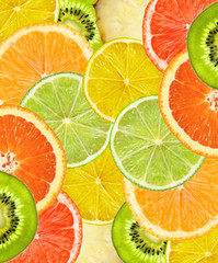 Beautiful citrus fruits of lemon, orange, grapefruit, lime backg