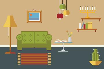 Livingroom Interior Flat Design Vector Illustration