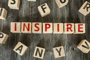 Wooden Blocks with the text: Inspire