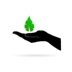 leaf green in black hand vector