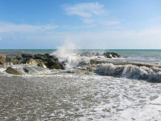 Wave breaks on the breakwater