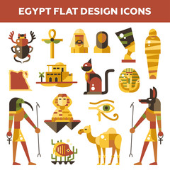Set of flat design Egypt travel icons, infographics elements