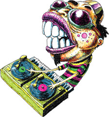 An intense cartoon DJ in sunglesses goggles with two turntables and a keyboard, mixing music.