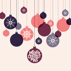 Retro winter holidays background with decorative balls
