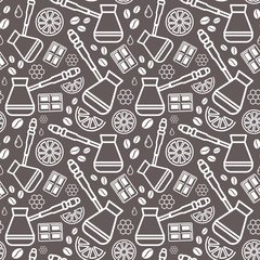 Endless coffee background. Vector seamless pattern of coffee.  Isolated on grey background